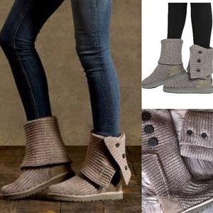 Ugg CLASSIC CARDY knit Wool BOOT charcoal